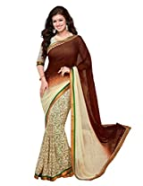 Beige Brown Georgette Party Saree with Unsitched Blouse 15902