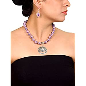 Koral Tree Purple Primrose Polymer Clay Necklace Set