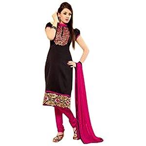 Black & Pink Chanderi & indo cotton with Lace Work Unstitched Salwar Kameez