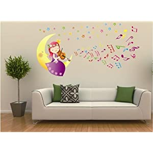 Createforlife Home Decoration Art Vinyl Mural Wall Sticker Decal Moon Girl Playing Violin Decal Paper