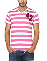 Paani Puri Men's V-Neck T-Shirt (2120802064_Pink_X-Large)