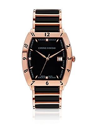 Chrono Diamond Uhr mit schweizer Quarzuhrwerk Man 10300 Leandro schwarz/rosé