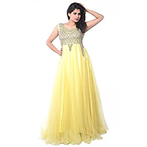 Yellow Net Readymade Gown