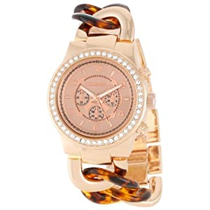 Bombshell Women's BS0716RT  Rhinestone Case Chain Link Rose Gold and Tortoise Woven Bracelet Watch