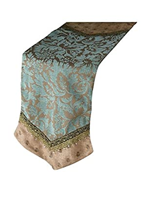 Sage & Co. Patina Jacquard Table Runner, Jade/Aqua
