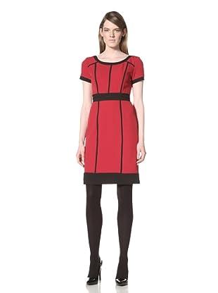 Chetta B Women's Short Sleeve Dress with Contrast Trim (Bali Red)