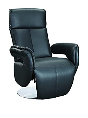 Furniture Contempo Monica Recliner Swivel Armchair, Black/Stainless Steel