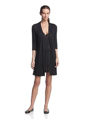 TART Women's Minka Sparkle Chemise & Robe Set (Black)