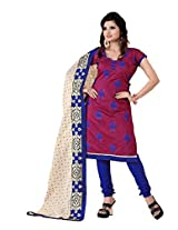 FadAttire Embroidered Chandheri Suit-Maroon-ACSA05