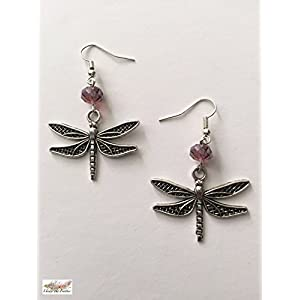 Under the Feather Charm Earrings- Silver Dragonfly