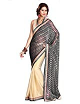 Sourbh Saree Grey And Beige Jacquard And Crepe Must Have Best Sarees for Women Party Wear, Special Karwa Chauth Gifts Wife, Women Clothing Collection