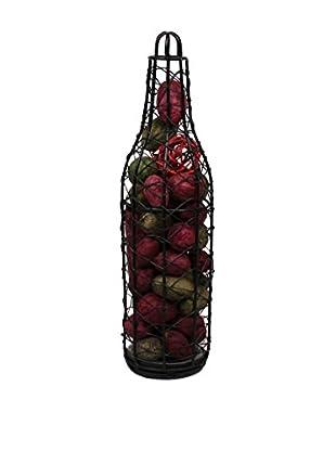 Jodhpuri Potpourri-Filled Wire Wine Bottle, Red