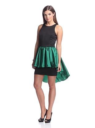 Alexia Admor Women's Ponte Dress with Taffeta Skirt (Black/Emerald)