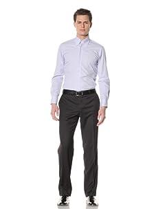 GF Ferré Men's Slim Fit Dress Shirt (Light Blue Plaid)