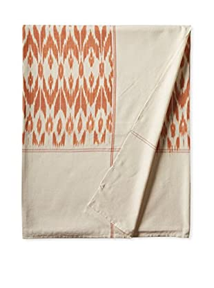 Nomadic Thread Society Ikat Bed Cover, Orange/White Warp, Queen