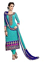 Anarkali Style Sky Blue colored Pure Chanderi Straight Suit