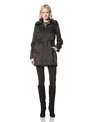 Elie Tahari Women's Mina Single-Breasted Trench with Faux Fur Collar (Black)
