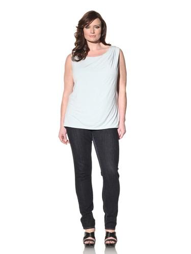 Z from Zenobia Women's Plus Draped Knit Tank (Pale Blue)