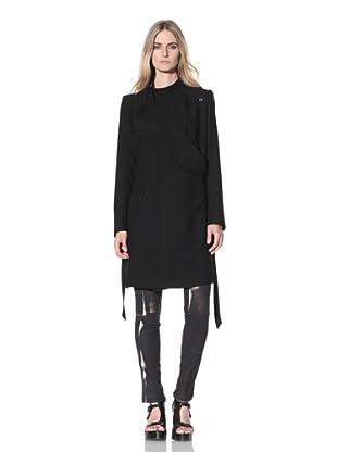Ann Demeulemeester Women's Side Button Long Wool Coat (Black)