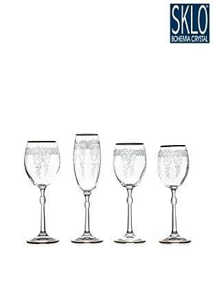 Cristal de Bohemia Cristalería 48 Piezas Larisa Grabada En Oro