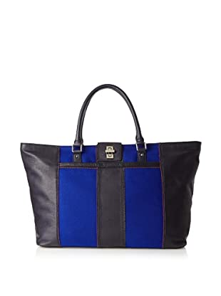 Charlotte Ronson Women's Wool Panel Weekender, Navy