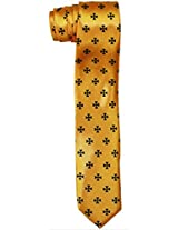 Outer Rebel Black Iron Crosses on Yellow Skinny Tie