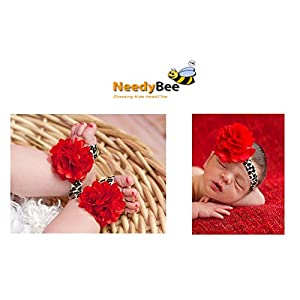 NeedyBee Leopard Print And Red Flower Infant Shoe And Headband Combo
