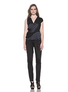 under.ligne by Doo.Ri Women's Draped Stripe Top (Navy Stripe)
