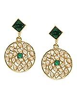 Bindhani Traditional Green Faux Diamond Round Earrings For Women