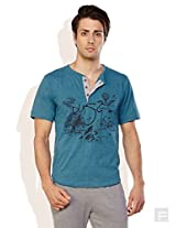 Do U Speak Green ? Mens Cotton Button Front T-Shirt Teal (Medium)