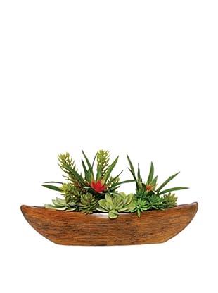 Lux-Art Silks Bromeliad Succulent Boat, Green