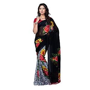 Aabha Black & White Colored Minaral Chiffon Printed Saree