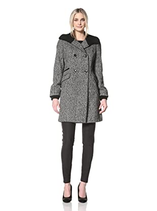 Nicole Miller Women's Knit Collar Coat with Faux Leather Trim (Donegal)