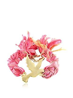 Ettika Coral Vintage Ribbon Bracelet with 18K Gold-Plated Dove Charm