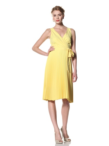Eva Franco Women's Amanda Surplice Dress with Pleated Skirt (Lemon Drop)