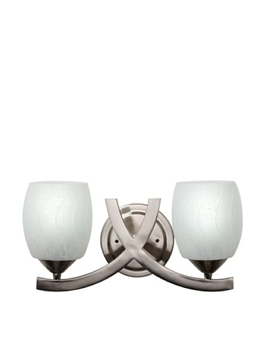 Monte Carlo Esquire 2-Light Vanity (Brushed Steel/White Linen)
