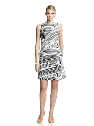 Taylor Women's Sleeveless Printed Wrap Flare Dress (Black/ivory)