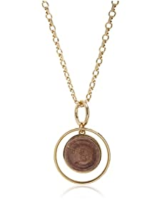 Kara Ross Copper Gold Snake Outer Hoop Drop Pendant