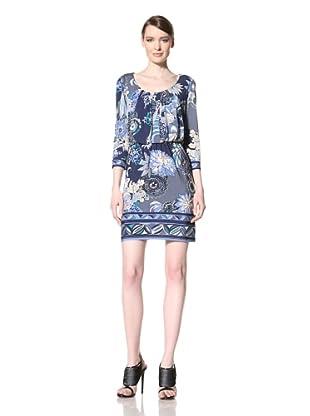 Donna Morgan Women's Delaney Scoop Neck Blouson Dress (Midnight Blue)