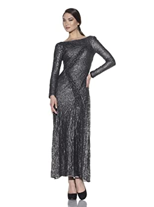 Christian Cota Women's Long Sleeve Zigzag Gown (Pewter)