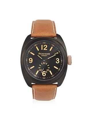 Rudiger Men's R5000-13-007.13 Siegen Black Case Brown Leather Watch