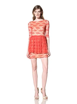 Alexia Admor Women's 3/4 Sleeve Lace Dress with Peplum (Red)