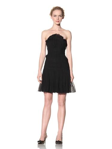 Philosophy di Alberta Ferretti Women's Strapless Dress with Asymmetrical Pleating (Black)