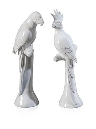 Set Of 2 Parrot Decor (White)
