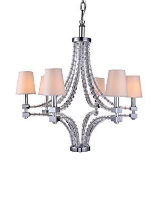Urban Lights Cristal Large 6-Light Pendant Lamp with Shades, Polished Nickel