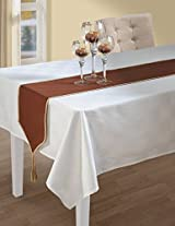 Chocolate Brown And Beige Table Runner - Cotton Duck Fabric - 13 Inch by 72 Inch - Machine Washable