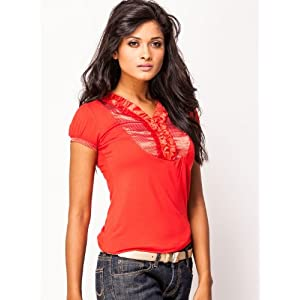 Madame Puffed Sleeves Women's Top - Red