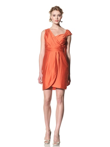 Andrew Marc Collection Women's Asymmetric Shoulder Grecian Dress (Papaya)