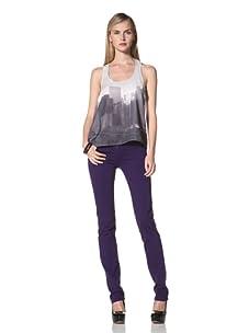 David Kahn Women's Niki Straight Leg Jean (Purple Mcgee)