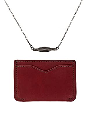 Men In Cities Red Wallet & Industrial Recycle Necklace Set